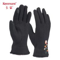 卡蒙触屏手套可爱刺绣女冬天加厚卡通短款手套摩托车保暖骑行手套2831