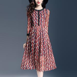 2018春季新款雪纺印花连衣裙时尚单排扣修身大气中长款a字裙