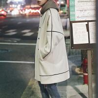 冬季中长款呢子大衣男士韩版学生立领风衣百搭毛呢宽松落肩外套潮