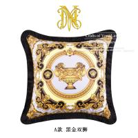 欧式复古简约样板间抱枕家居沙发床头靠垫双面印含芯软装T A款 黑金双狮(含枕芯) 50X50cm(含芯)