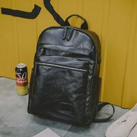 男士双肩包新款韩版背包潮流大学生书包电脑皮包大容量潮流商务包 黑色(USB+耳机孔) 现货