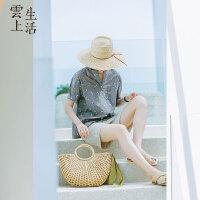 【限时抢购】云上生活女装夏装文艺休闲清新印花立领短袖衬衫C7531