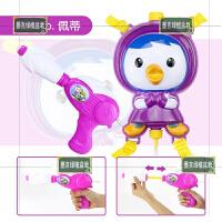 卡通儿童鳄鱼鲨鱼抽拉式喷水枪宝宝游泳池沙滩打水仗洗澡戏水玩具 紫色佩蒂背包 容量约1.5L 标准配置