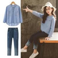 女童秋装套装潮中大童衬衫牛仔裤时尚洋气时髦两件套