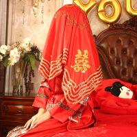 结婚庆用品中式刺绣婚礼道具头纱大亮片孔雀双喜字新娘红盖头