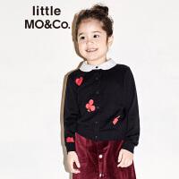 littlemoco秋季新品女童毛衣保暖娃娃领扑克花色针织开衫外套