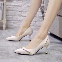 韩版小跟单鞋温柔鞋潮尖头细跟蝴蝶结气质女鞋仙女风