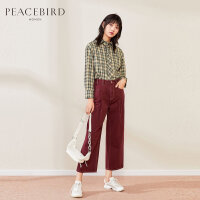 太平鸟格纹衬衫女2019秋冬新款方领直筒运动休闲上装女长袖衬衫