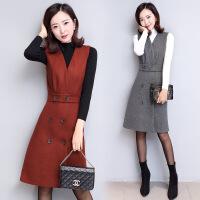 秋装新款女韩版修身无袖连衣裙时尚两件套v领套装裙 FBHF7712红色