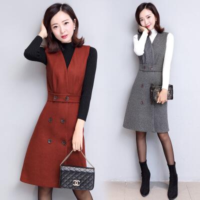 秋装新款女韩版修身无袖连衣裙时尚两件套v领套装裙 FBHF7712红色 一般在付款后3-90天左右发货,具体发货时间请以与客服协商的时间为准