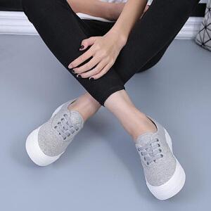 环球 韩版低帮系带厚底松糕跟时尚休闲女帆布鞋