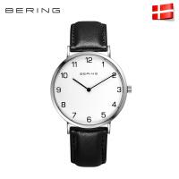 进口Bering白令 防水石英表简约男表大表盘皮带商务男士手表13940
