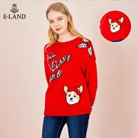 【到手价:323元】ELAND针织衫打底毛衣女冬季字母卡通大花套头EEKW84V18N