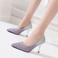 韩版春季尖头性感婚鞋时尚浅口单鞋女高跟鞋女细跟百搭