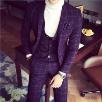韩流韩版修身大格子色织西装西服新郎西装 男士西服三件套装 紫色
