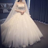 婚纱礼服新娘新款虎丘一字肩蕾丝中长袖大码齐地长拖尾秋冬季 X