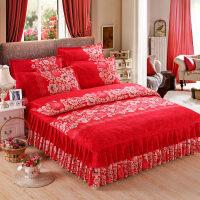 加厚磨毛床裙四件套结婚床上用品秋冬季双人被套花边床套床罩1.5m
