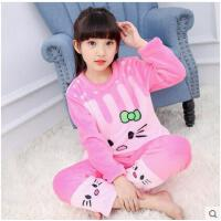 韩版甜美卡通女孩珊瑚绒大童儿童睡衣女童睡衣套装法兰绒保暖家居服