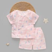 婴儿夏季短袖套装初生儿男女纱布内衣宝宝薄款