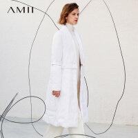 【到手价:518元】Amii极简欧货时尚90白鸭绒白色羽绒服女2019冬新可拆纽扣修身外套