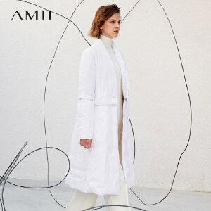 Amii[极简主义]创意 90绒羽绒服女 冬装新款宽松可拆纽扣拉链外套