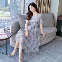 香衣宠儿 真丝连衣裙 2018夏季新品韩版显瘦印花短袖桑蚕丝裙子 2110-53