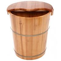 香杉木足浴桶泡脚木桶家用带盖洗脚桶木质足浴盆实木加高40cm 40cm高木盆+泡脚药1包
