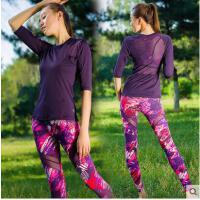 网纱拼接紧身运动健身房女中袖长裤锦纶运动两件套含胸垫瑜伽服套装