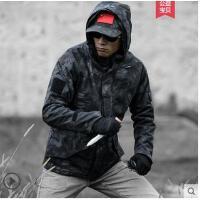 户外军迷蟒纹迷彩软抓绒加厚保暖防水登山服壳冲锋衣男士战术外套