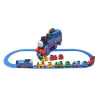 大号音乐惯性拖马斯小火车合金磁铁性链接回力轨道玩具汽车模型 含8个小火车送电动火车头和轨道