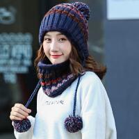 帽子女冬天韩版针织帽秋冬季加厚加绒保暖韩国护耳围脖毛线帽百搭
