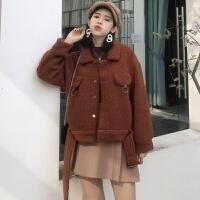 新款韩版复古百搭圆环装饰短款外套翻领长袖单排扣开衫上衣女冬季