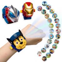奥特曼赛罗玩具手表儿童卡通电子投影仪蜘蛛侠男女孩幼儿园发光表
