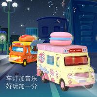 儿童趣味餐车玩具磁力感应玩具合金车模型男孩女孩过家家快餐车
