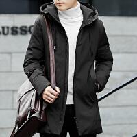 羽绒服男秋冬季新款韩版潮修身中长款加厚纯色羽绒外套男冬装 黑色 M