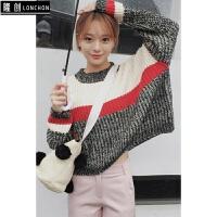 毛衣套头女秋冬韩版复古撞色长袖短款圆领百搭显瘦学生毛针织衫