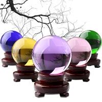紫色水晶球摆件 透明玻璃球 多色多号 黄水晶球摆件 风水球摆件