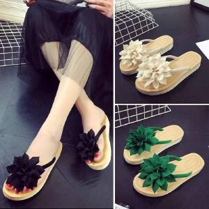 2018拖鞋女夏坡跟厚底花朵人字拖女外穿平跟防滑凉拖海边沙滩鞋潮