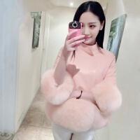 新款韩版狐狸毛拼接休闲立领皮衣七分袖短款女装仿皮草外套潮