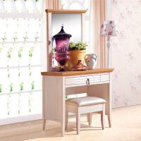 尚满 地中海系列梳妆台 卧室家具 水曲柳实木框 梳妆台+梳妆凳 仿古白