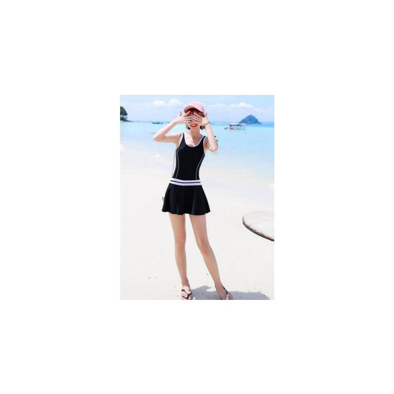 泳衣女保守温泉学生大码性感显瘦遮肚连体裙式平角小胸聚拢游泳衣 品质保证 售后无忧