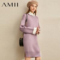 【到手价:163元】Amii极简清新仙女气质连衣裙2019冬季新款高领落肩袖撞色毛衣裙子