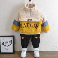 童装男童潮儿童套装加绒卫衣运动两件套洋气宝宝冬装