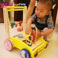 木质助步车玩具婴幼儿童可折叠学走路手推车木制学步车宝宝