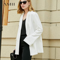 Amii极简chic韩版英伦风心机上衣设计感黑色西装套装ins火外套女