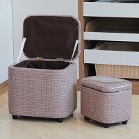 多功能收纳凳储物凳子PU长方形换鞋凳可坐玩具整理箱T