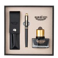 英雄(HERO)1801钢笔墨水礼盒铱金钢笔墨水笔组合套装 黑漆 当当自营