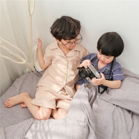 儿童睡衣夏装男童家居服套装两件套薄款纯棉夏季全棉空调服男宝宝