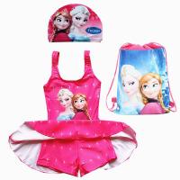 新款泳衣女童裙式中大童游泳衣公主艾莎女孩泳装衣 95-105cm 30斤