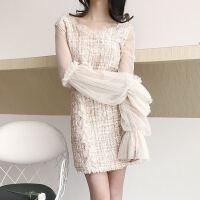 春季新款版c风时尚网纱拼接粗花呢上衣+短裙两件套套装女装